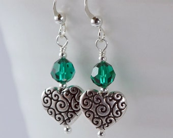 Scroll Heart Earrings - Silver Pewter Hearts, Round Swarovski Crystals, Sterling Silver