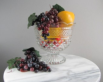 Large Vintage Bowl, Pedestal Bowl, Wexford Serving Bowl, Large Fruit Bowl, Table Centerpiece