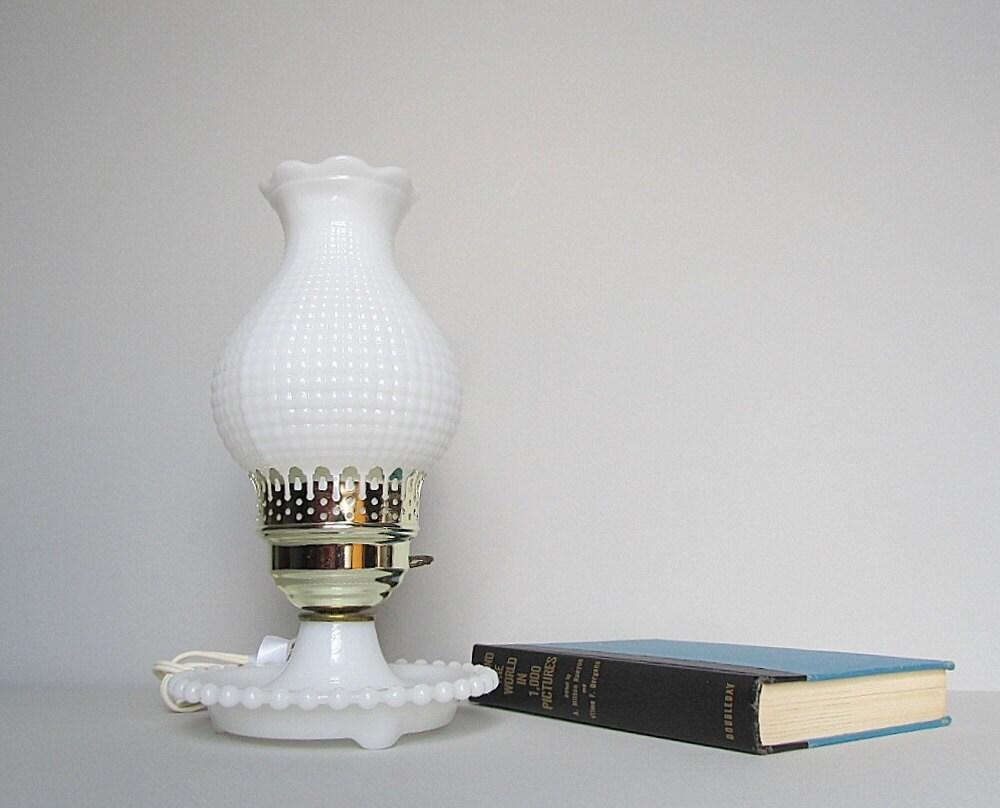 vintage hobnail lamp milk glass lamp hurricane boudoir lamp