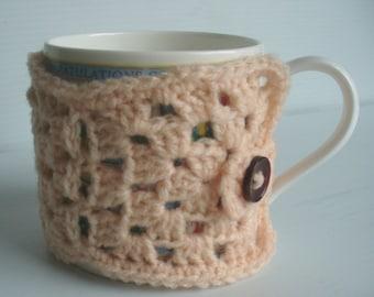 Mug Cosy, Coffee Cup Cosy, Granny Square Cosy, Peach Mug Cosy, Cup Cosy, Crochet Mug Cosy
