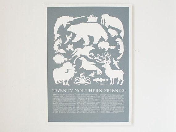 Large Print Grey Arctic Animals Poster