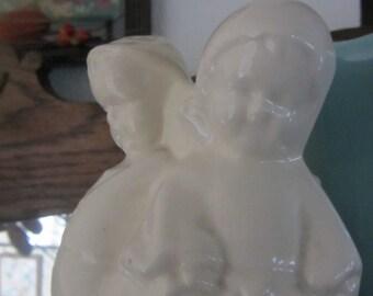 Vintage Creamware Pottery Planter Boy and Girl