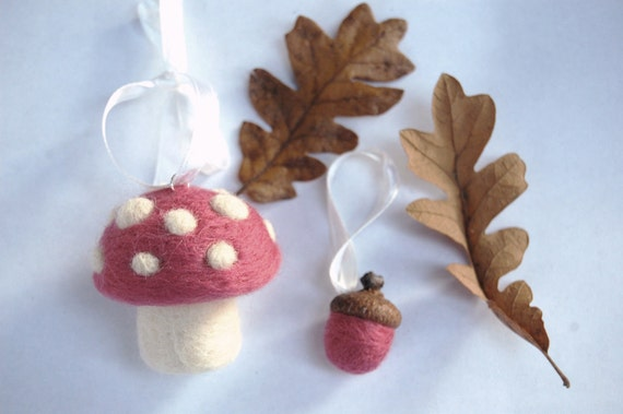 Baby's First Christmas Ornament Needle Felted Toadstool Mushroom and Acorn Yule Ornament in Pink