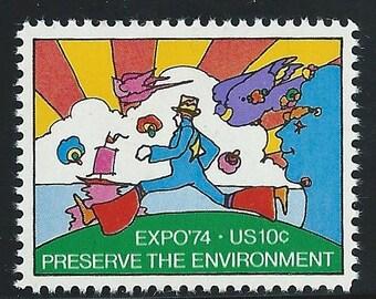 Vintage Unused US Postage Stamp 10c  PETER MAX 1974.. Pack of 10 stamps. Pop culture artist, rainbow art, vintage posters, rock and roll art