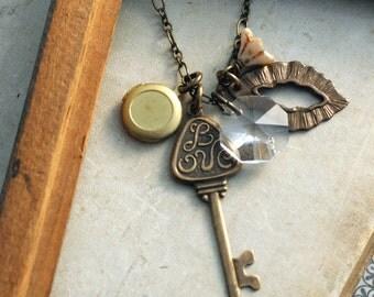 Love Key Locket Necklace, Long Layering Necklace