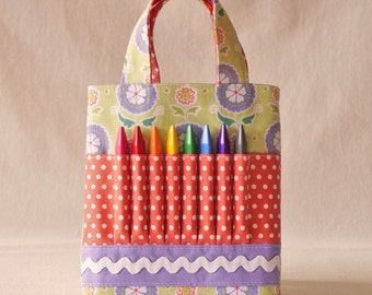 Coloring Bag Crayon Tote Flower Girl Gift Crayon Tote ARTOTE MiNi in Cozy Posie READY to SHIP