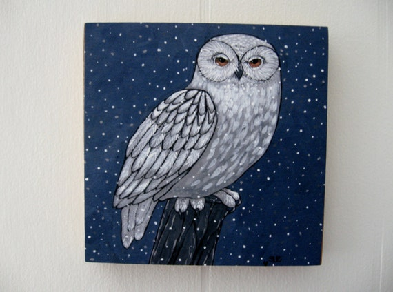 Art Print Mounted on Wood 5x5 Owl Woodland Snowy Owl