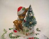 VINTAGE CHRISTMAS 1970s Woodland Deer Figurine with Bottlebrush Tree