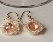 Cream and Pink Crocheted and Beaded Czech Glass Bead Earrings