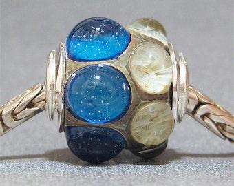 Handmade Lampwork Jewelry Charm Bead Blue and Ivory Big Hole Lampwork Glass Bead Blue Hawaii
