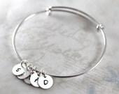 Mom Charm Bracelet, Initial Charms, Personalized Bracelet, Bangle Bracelet, Custom Hand Stamped, Initial Bracelet, custom name