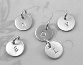 Single Initial Charm, Sterling Silver Charm with 1 letter, Charm Only No Chain, Engraved Initial Charm