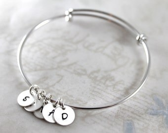Valentine's gift, initial charm bracelet, expandable bangle bracelet custom hand stamped, hand made custom name