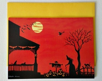 """Halloween frame-able greeting card """"Heading Home"""""""