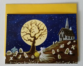 """Halloween frame-able greeting card """"By the Fright of the Moon"""""""
