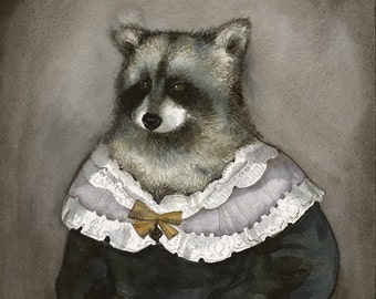 "raccoon art - ""Hildegard""-  watercolor print - Illustrious Forest Collection"