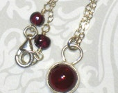 Little Round Garnet Pendant on Sterling Silver Chain Handmade Necklace