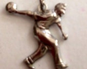 Vintage jewelry  Bowling charm pendant man sports silver  jewelry findings  zz1