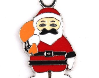 Christmas Santa Claus  charm  enamel pendant  silver quantity 4  jewelry findings supplies pendant  CCB14