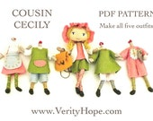 COUSIN CECILY / bendy doll / digital / pdf / tutorial and pattern for felt tapestry yarn doll by Verity Hope