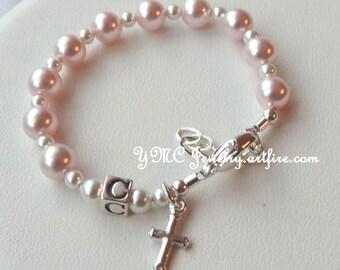 Sterling Silver Baby Girl Baptism Pink Pearl  Rosary Bracelet, Baptism Bracelet, First Communion, Christening Bracelet, Baby Girl Bracelet