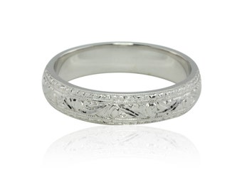 Men's Wedding Band, Intricately Hand Engraved Man's Wedding Band in 14k White Gold - LS2076
