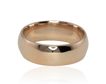Wedding Ring, 5mm wide Comfort Fit 14k Rose Gold Wedding Band - White and Yellow Gold Also Available - LS811