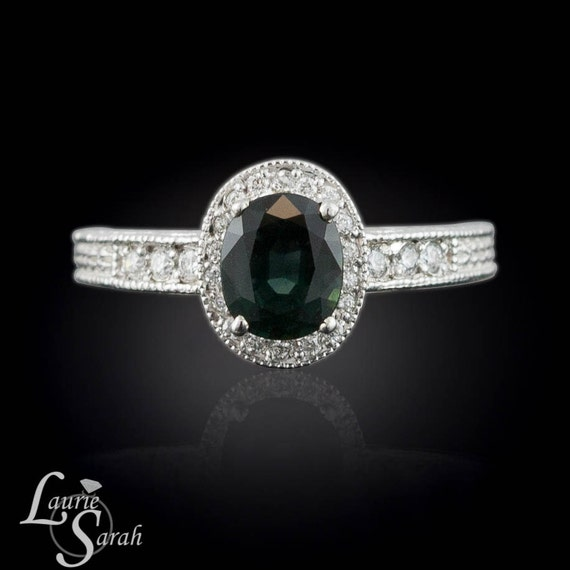 Engagement Ring, Blue Green Sapphire Diamond Halo Ring with Engraving - LS1419