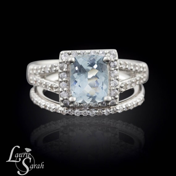 Aquamarine Engagement Ring Aquamarine Engagement Ring Set