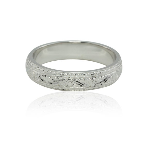 Intricately Hand Engraved Man's Wedding Band in 14k White Gold - LS2076