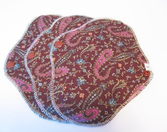 Set of 3 Cloth Mama Pad Pantyliners 8 inch - Brown Paisley Print FREE Shipping