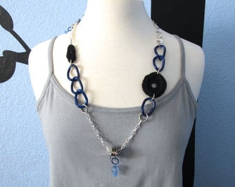 "Fiberpunk™ Necklace - Black & Blue - Long 15"" / Fiber Jewelry / Crochet Jewelry / Tatted Jewelry"