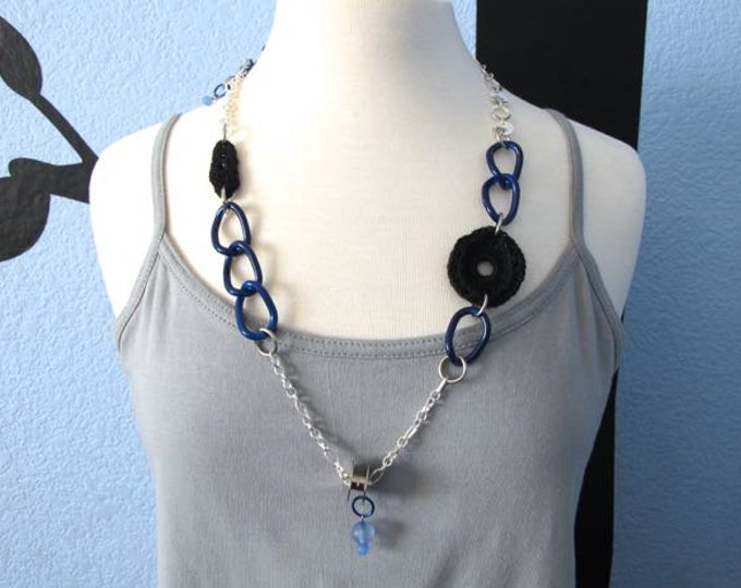 "Fiberpunk™ Necklace - Black & Blue - Long 15"" / Fiber Jewelry / Crochet Jewelry / Tatted Jewelry"