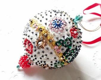 Vintage handmade ornate beaded Christmas ornament
