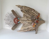 Driftwood Art Sculpture Fish Angelfish Shells Black Sea Fans Beach Coastal Decor Accent
