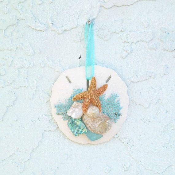 Turquoise And White Christmas Tree: Sand Dollar Ornament Christmas Tree Turquoise And White