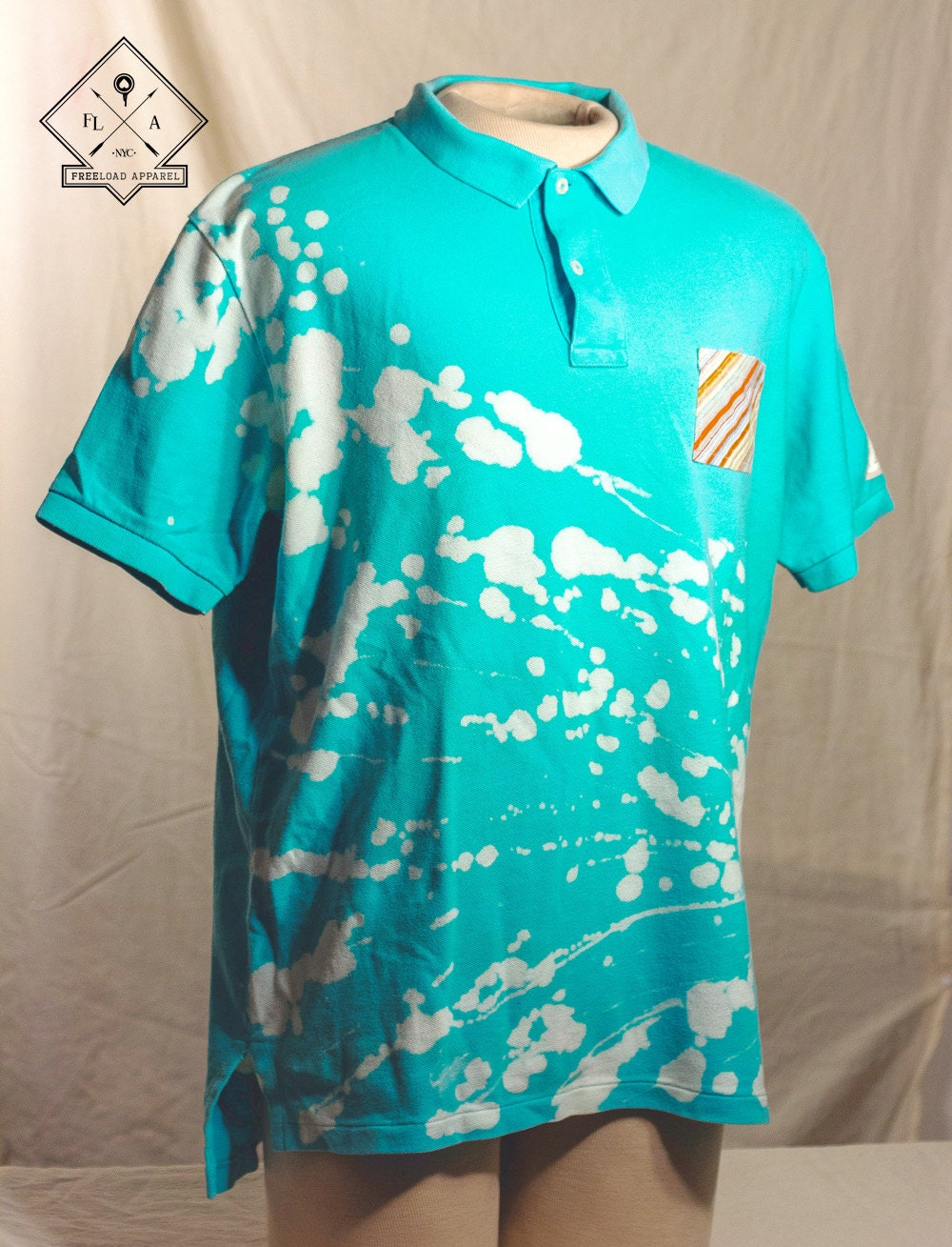 Teal bleached ralph lauren polo shirt with pocket xl mens for Mens teal polo shirt