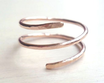 Spiral Ring - Rose Gold Fill - Hammered - Single Spiral - Minimalist - Adjustable - Handmade - Stackable Ring - Gifts Under 25 - Double Ring