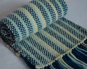 Handwoven scarf - Striped enchantment Merino scarf (teal/turquoise, light baby blue- baby lemon) Men scarf