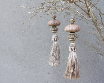 Sea Urchin Ornaments - Grey and Silver - set of two