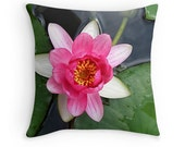 "Zen Pillow Cover, Photo Pillow Cover, Water Lily photo. Pink and Green Home Decor Floral Throw Pillow Cover Office Decor 16"" to 20"" Square"