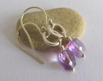 Ametrine Silver Earrings, Ametrine Earrings, Purple Silver Earrings, Purple Earrings, Faceted Ametrine, Wire Wrapped Earrings