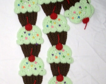 Cupcakes Scarf  Chocolate Brown Cake Mint Green Frosting Red Cherry kawaii scarf yummy scarf crochet scarf Made To Order