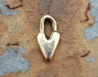 2 Antique Gold Primitive Heart Charm 14.3 x 7.3mm Nunn Designs