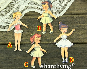 4pcs Handmade Wooden Lovely Girl Charms / Pendants HW007