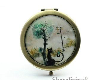 1pcs Tree Cat Pocket Mirror, Compact Mirror, Antique Bronze Silver Gold Makeup Mirror, Personalized Mirror - HPM004E