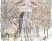 Snow Queen Digital Collage Greeting Card (Suitable for Framing)
