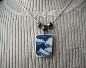 "Blue transferware choker, tumbled vintage cloudy sky patterned china on 16"" silver plated snake chain"