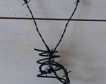Barb wire heart,  Black heart,  Goth heart, Wire art, Modern Art, Metal Sculpture