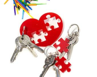 Family Puzzle Keychain Set,Plexiglass Keychain,Lasercut acrylic,Gifts Under  25